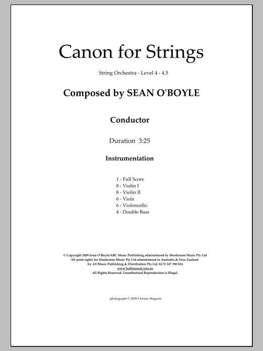 Canon for Strings (COMPLETE) sheet music for orchestra by Sean O'Boyle. Score Image Preview.