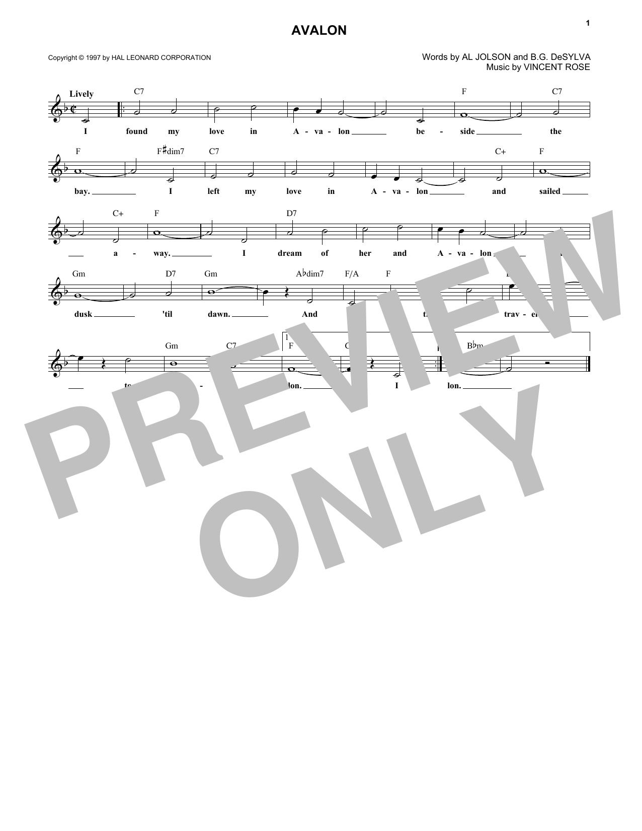 Avalon (Lead Sheet / Fake Book)