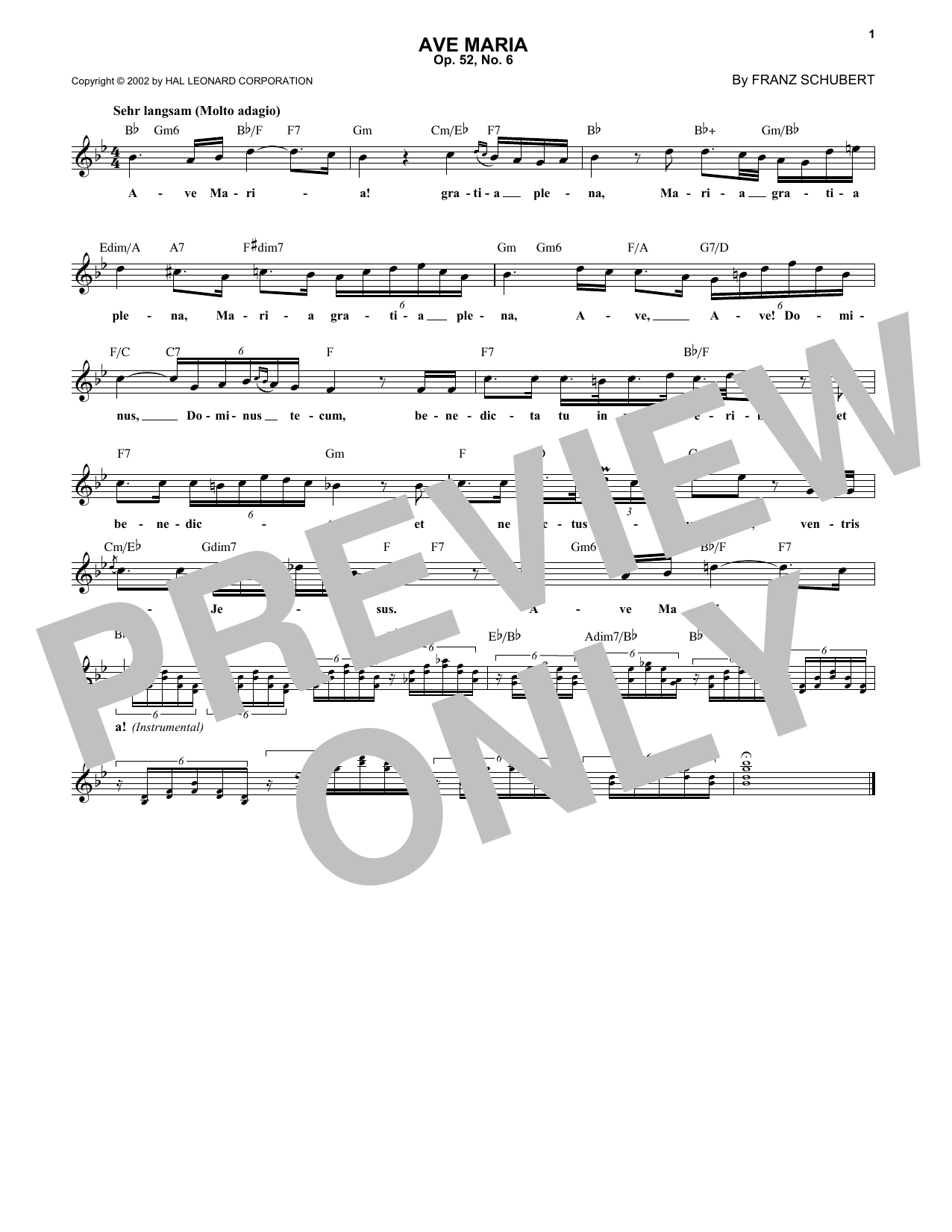 Ave Maria, Op. 52, No. 6 (Lead Sheet / Fake Book)