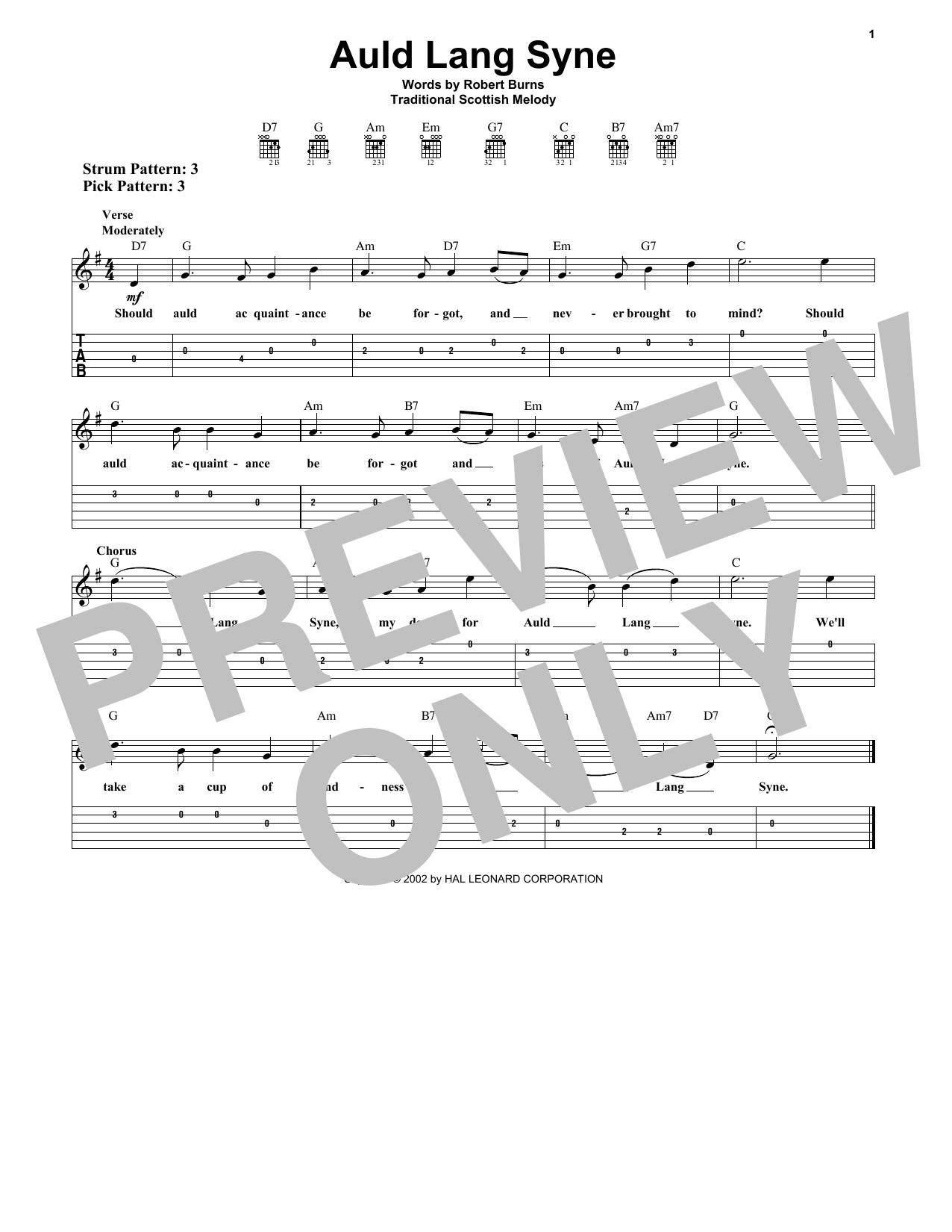 Auld Lang Syne (Easy Guitar Tab)