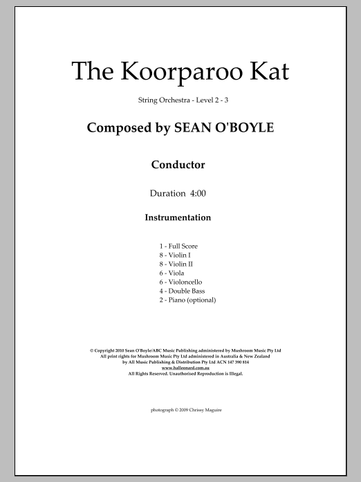 The Koorparoo Kat (COMPLETE) sheet music for orchestra by Sean O'Boyle. Score Image Preview.
