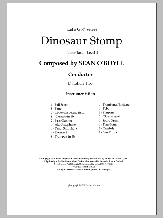 Dinosaur Stomp (COMPLETE) sheet music for concert band by Sean O'Boyle. Score Image Preview.