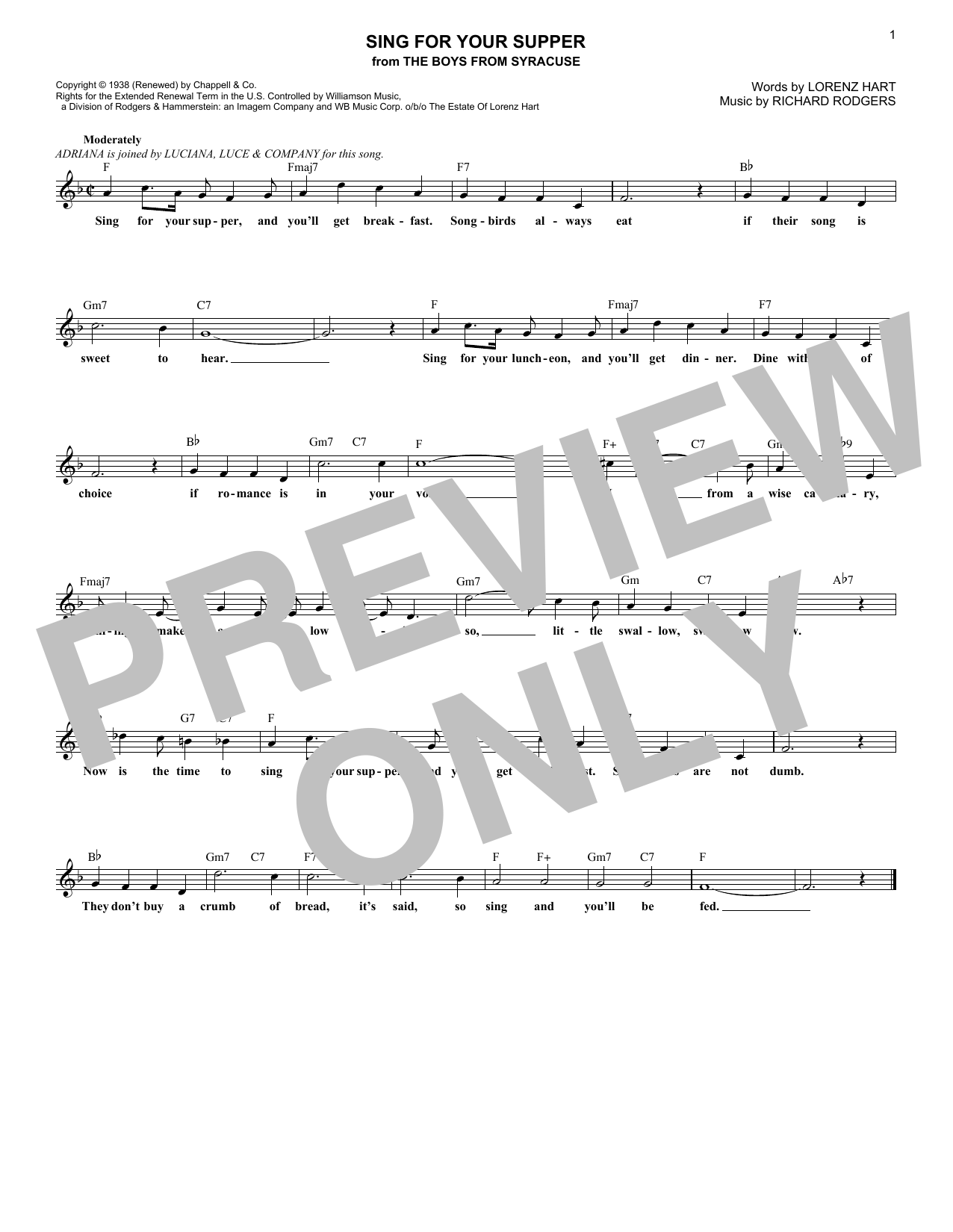 Sing For Your Supper (Lead Sheet / Fake Book)