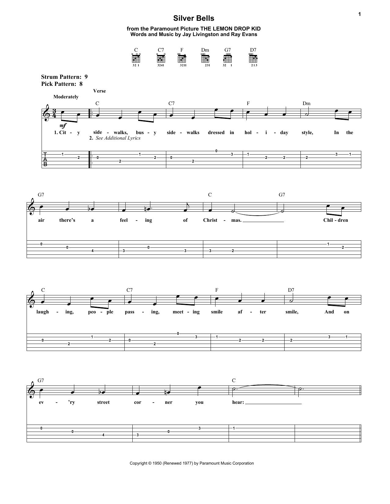 Silver Bells Sheet Music By Jay Livingston Easy Guitar Tab 181663