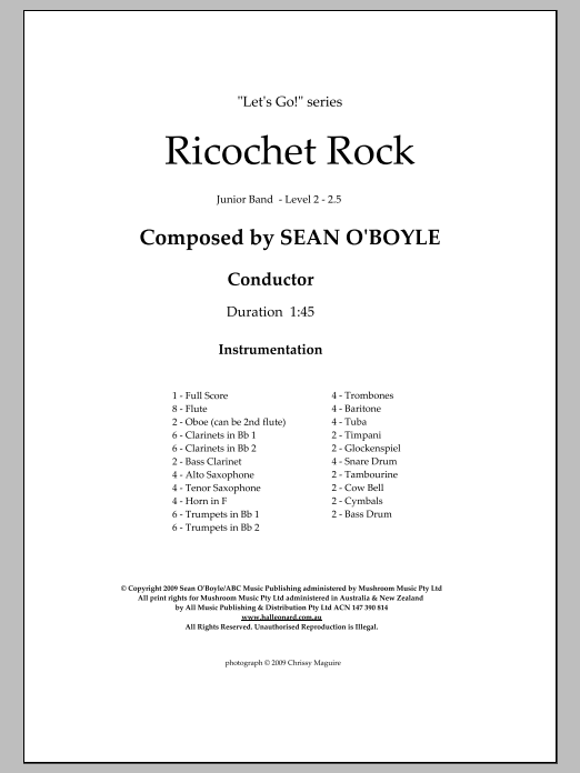 Ricochet Rock (COMPLETE) sheet music for concert band by Sean O'Boyle. Score Image Preview.