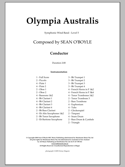 Olympia Australis (Symphonic Wind Band) (COMPLETE) sheet music for concert band by Sean O'Boyle. Score Image Preview.