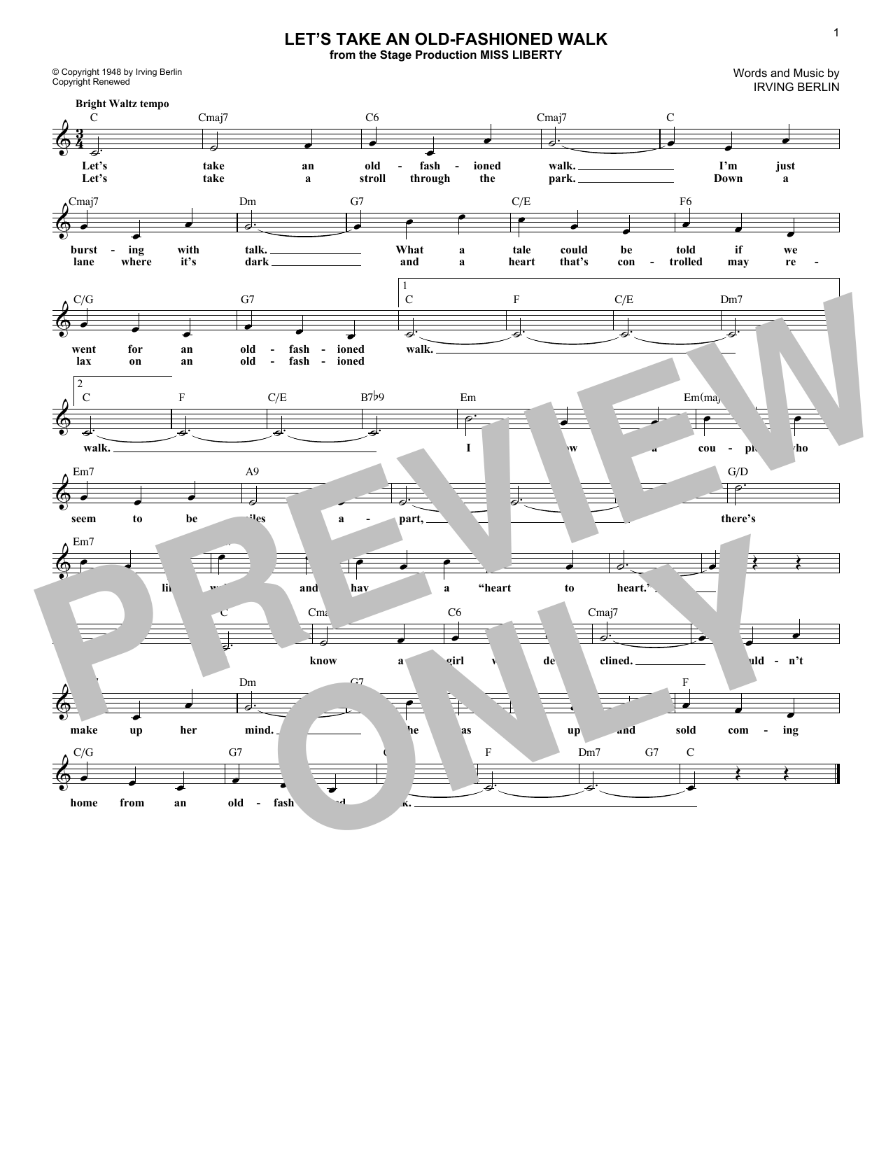 Let's Take An Old-Fashioned Walk (Lead Sheet / Fake Book)