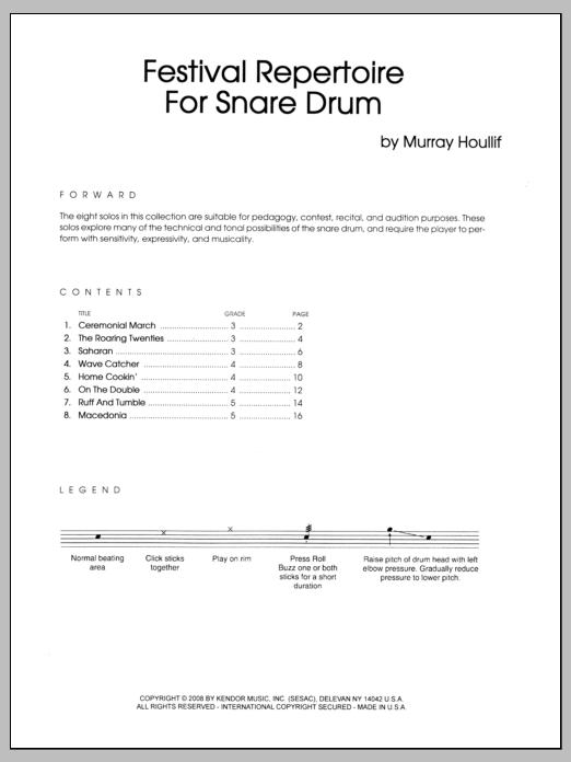 Festival Repertoire For Snare Drum Sheet Music
