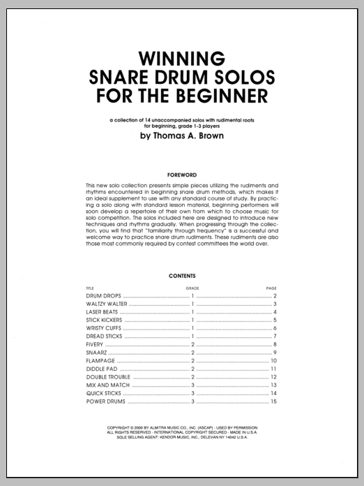 Winning Snare Drum Solos For The Beginner Sheet Music