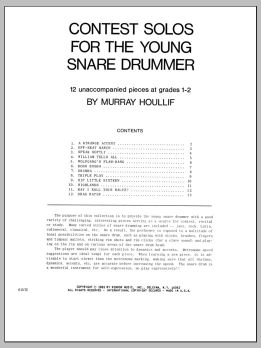 Contest Solos For The Young Snare Drummer Sheet Music