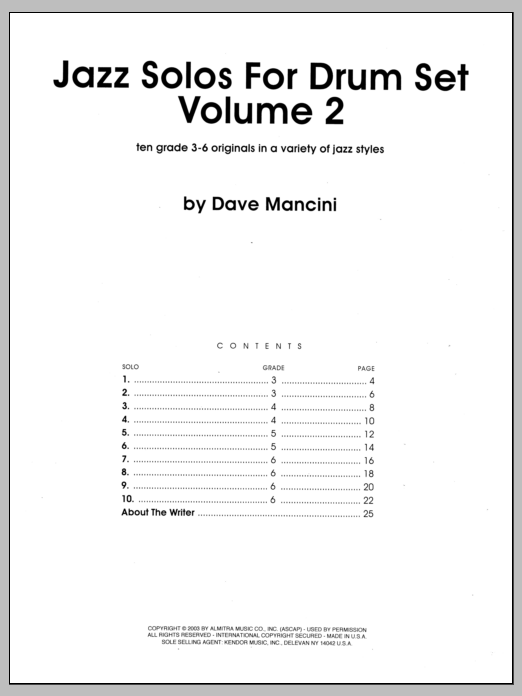 Jazz Solos For Drum Set, Volume 2 Sheet Music