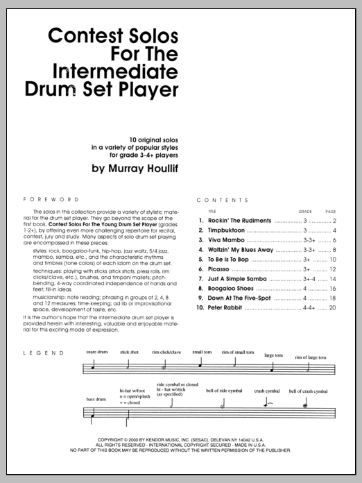Contest Solos For The Intermediate Drum Set Player Sheet Music