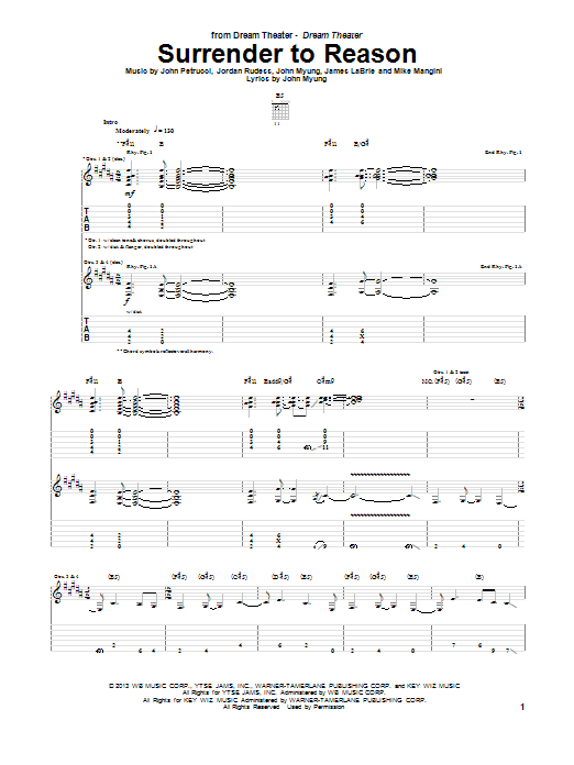 Surrender To Reason Sheet Music
