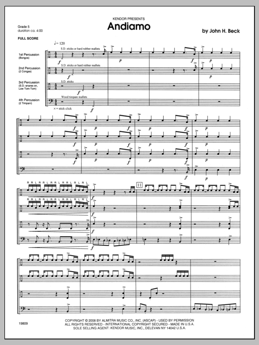 Andiamo (COMPLETE) sheet music for percussions by Beck Hansen. Score Image Preview.