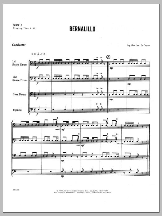 Bernalillo (COMPLETE) sheet music for percussions by Lefever. Score Image Preview.