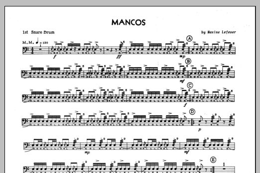 Mancos - 1st snare drum Sheet Music