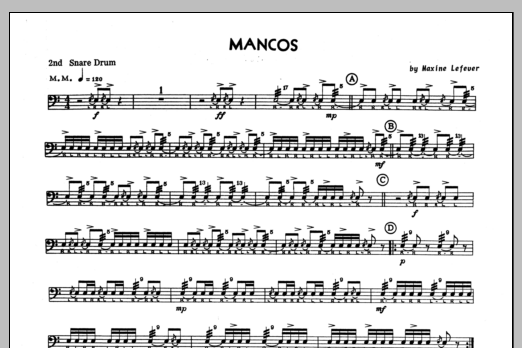 Mancos - 2nd snare drum Sheet Music