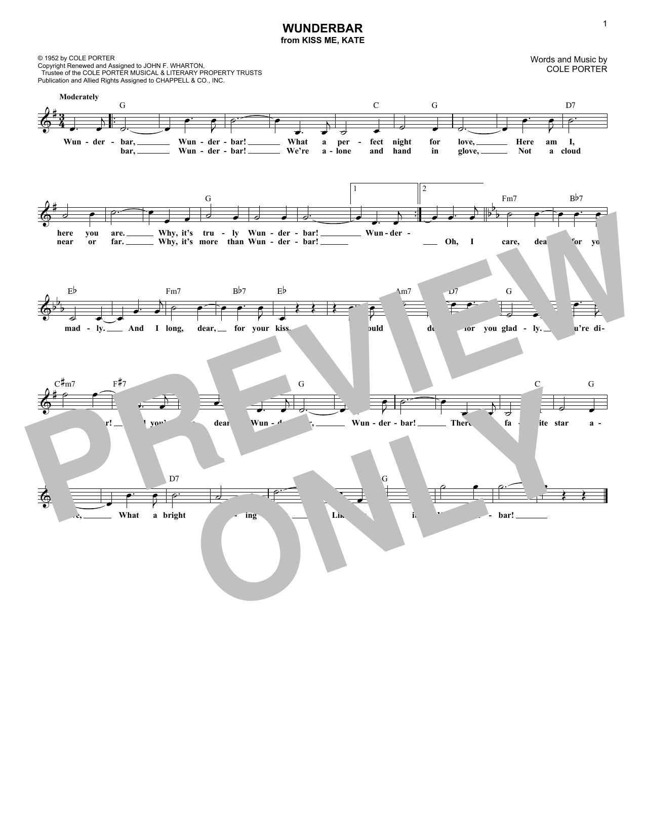 Wunderbar (Melody Line, Lyrics & Chords)