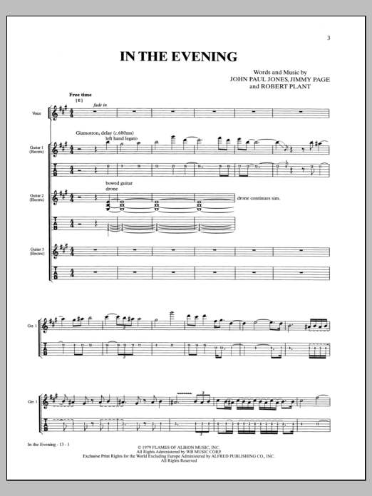 In The Evening Sheet Music