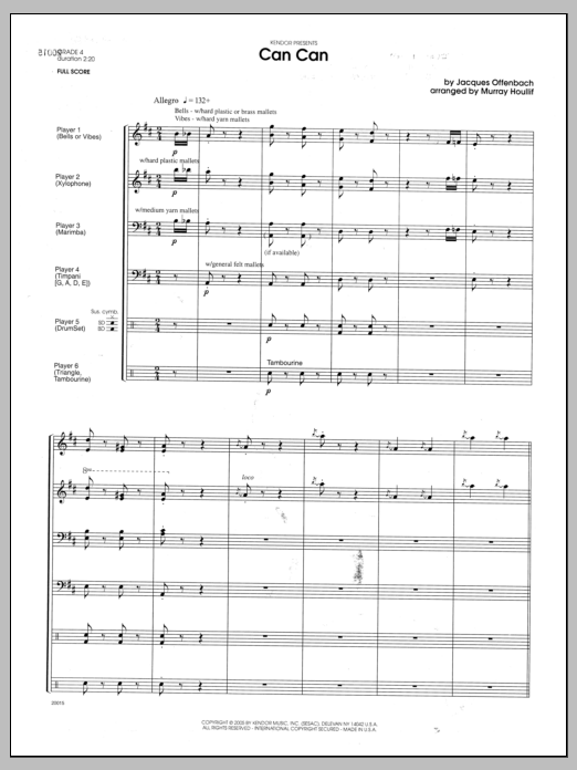 Can Can (COMPLETE) sheet music for percussions by Houllif and Offenbach. Score Image Preview.