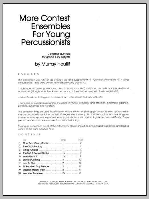More Contest Ensembles For Young Percussionists (COMPLETE) sheet music for percussions by Houllif. Score Image Preview.