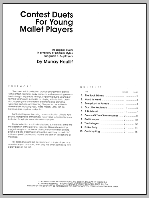 Contest Duets For The Young Mallet Players Sheet Music