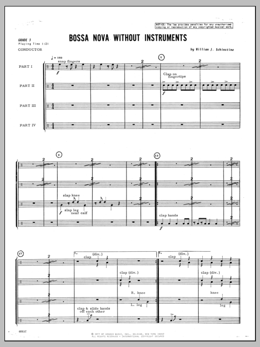 Bossa Nova Without Instruments (COMPLETE) sheet music for percussions by Schinstine. Score Image Preview.