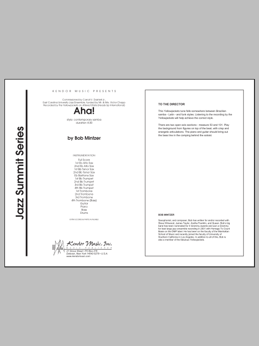 Aha! (COMPLETE) sheet music for jazz band by Mintzer. Score Image Preview.