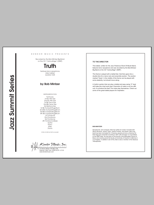 Truth (COMPLETE) sheet music for jazz band by Mintzer. Score Image Preview.