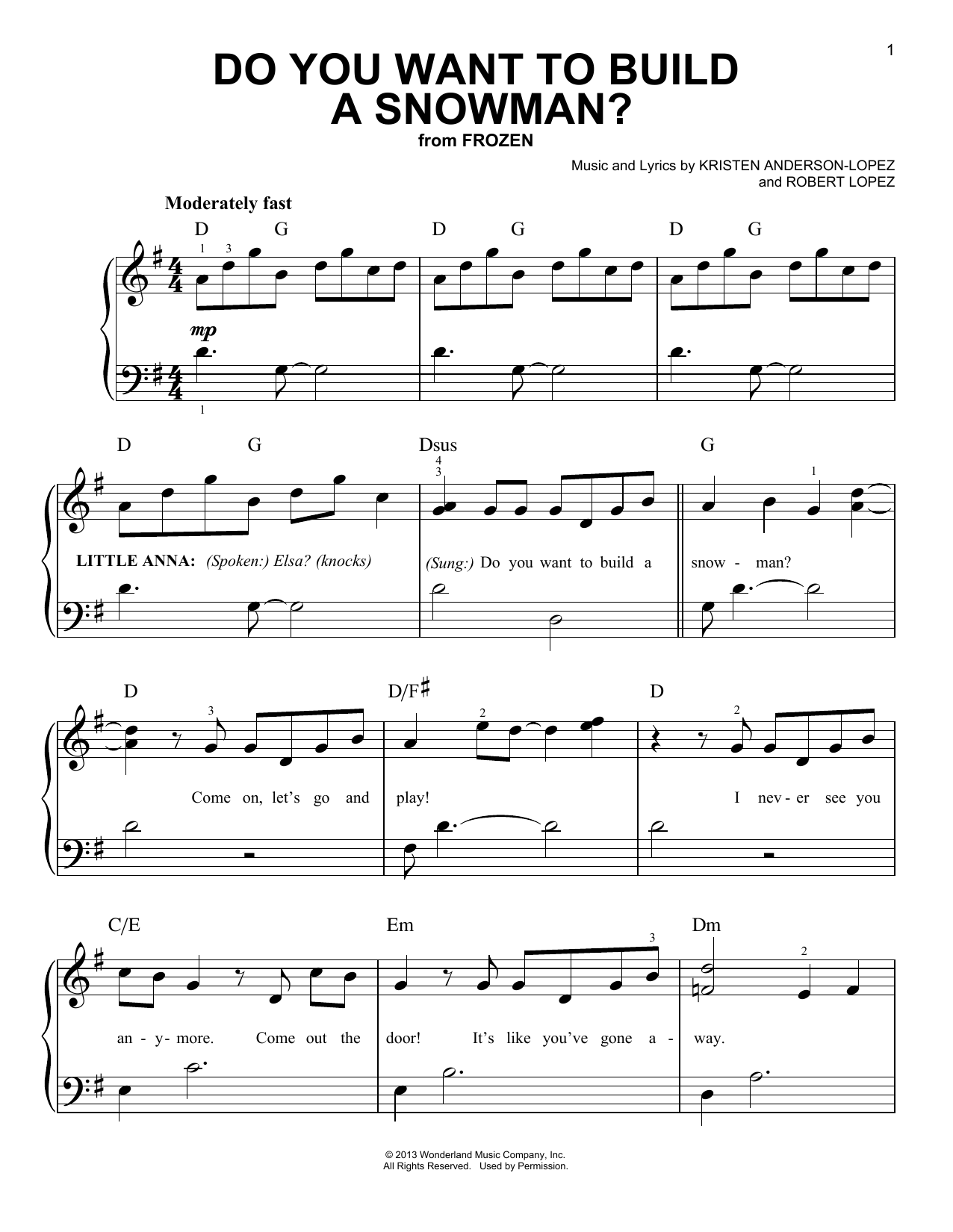 Do you want to build a snowman sheet music direct for I want to make a snowman