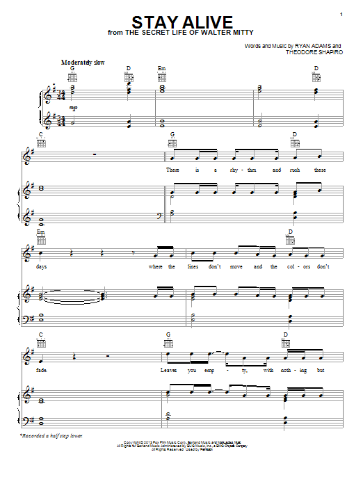 Stay Alive Sheet Music