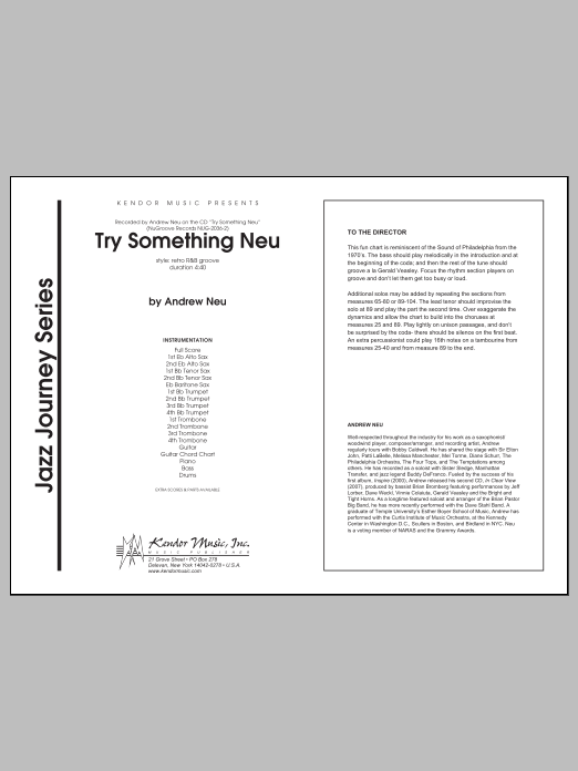 Try Something Neu (COMPLETE) sheet music for jazz band by Neu. Score Image Preview.