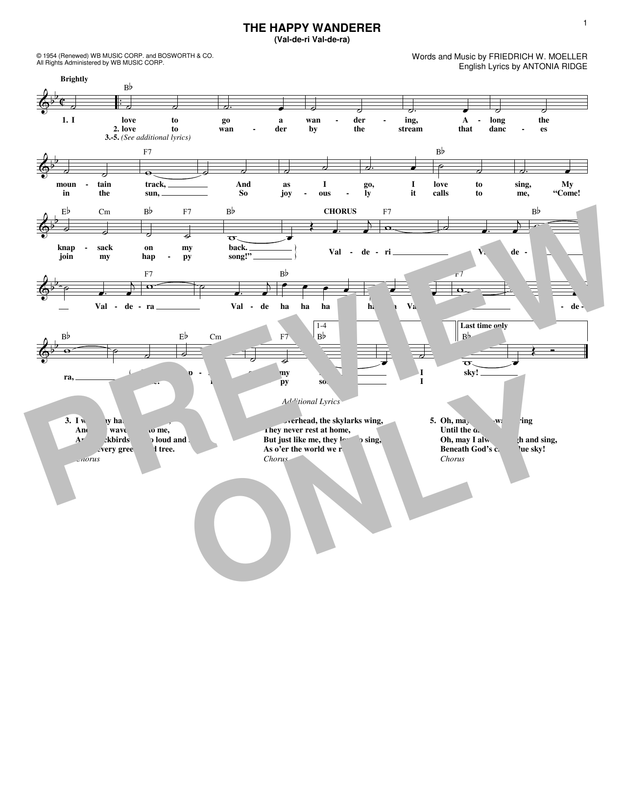 The Happy Wanderer (Val-de-ri Val-de-ra) (Lead Sheet / Fake Book)