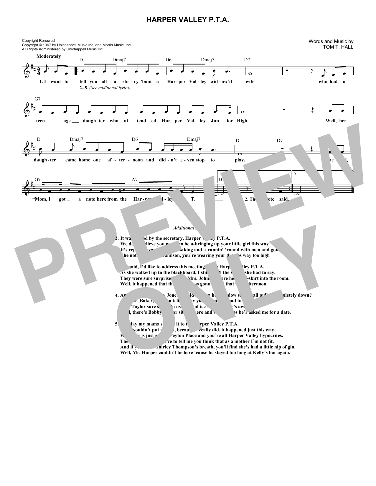 Harper Valley P.T.A. (Lead Sheet / Fake Book)