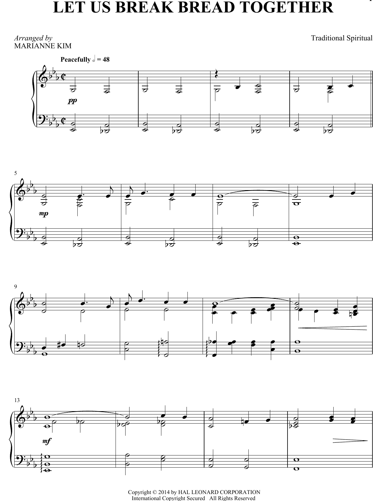 Let Us Break Bread Together Sheet Music