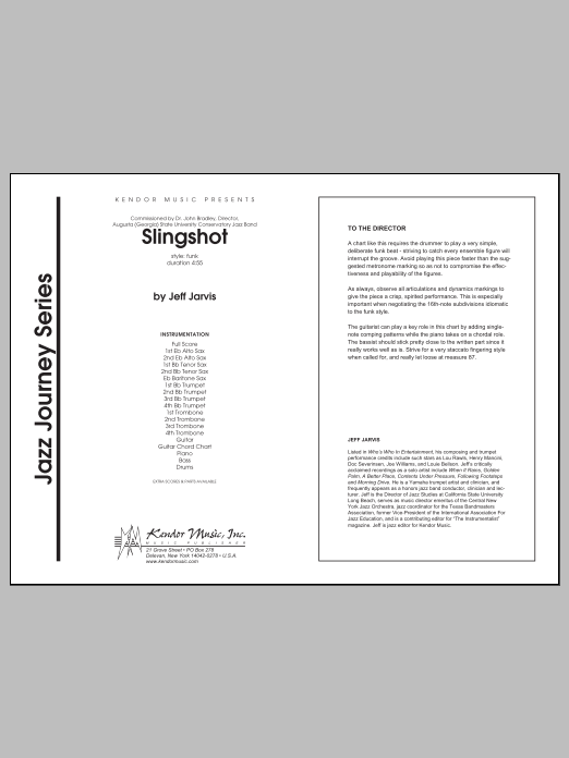 Slingshot (COMPLETE) sheet music for jazz band by Jarvis. Score Image Preview.