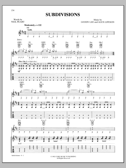 Subdivisions Sheet Music