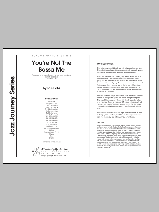 You're Not The Bossa Me (COMPLETE) sheet music for jazz band by Halle. Score Image Preview.