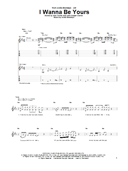 Tablature guitare I Wanna Be Yours de Arctic Monkeys - Tablature Guitare