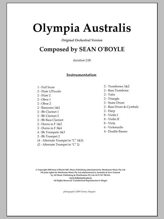 Olympia Australis (Orchestra) (COMPLETE) sheet music for orchestra by Sean O'Boyle. Score Image Preview.