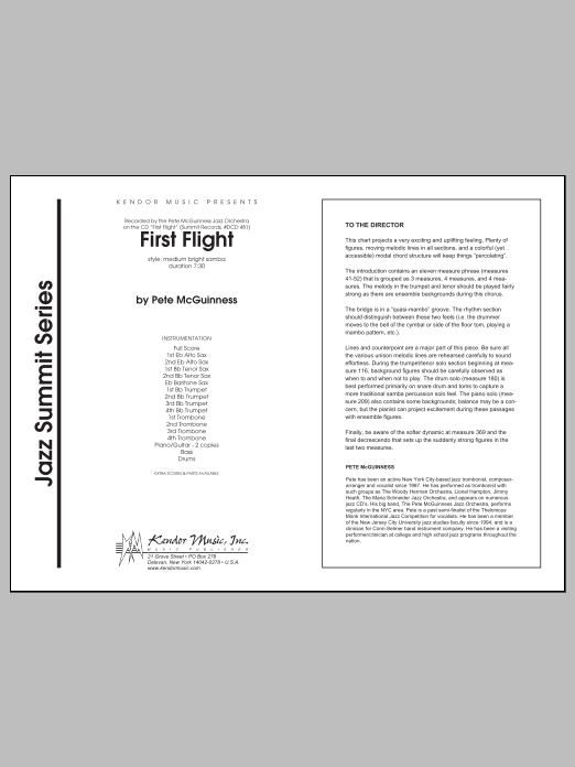 First Flight (COMPLETE) sheet music for jazz band by McGuinness. Score Image Preview.