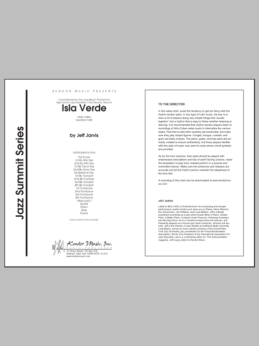 Isla Verde (COMPLETE) sheet music for jazz band by Jarvis. Score Image Preview.