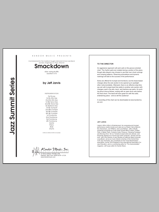 Smackdown (COMPLETE) sheet music for jazz band by Jarvis. Score Image Preview.