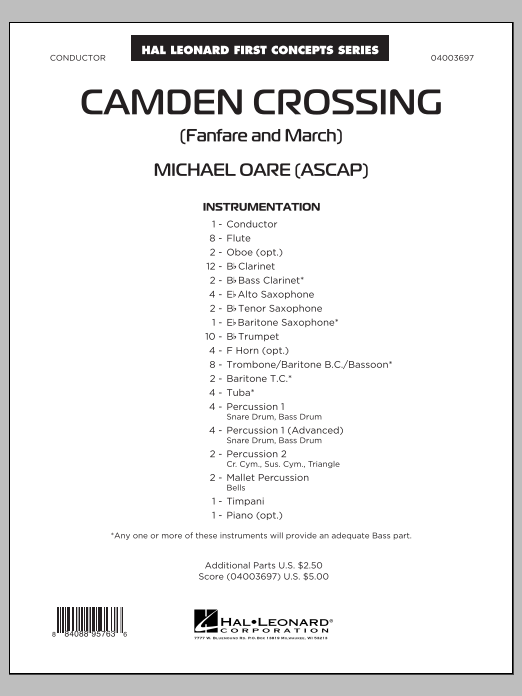Camden Crossing (Fanfare and March) (COMPLETE) sheet music for concert band by Michael Oare. Score Image Preview.