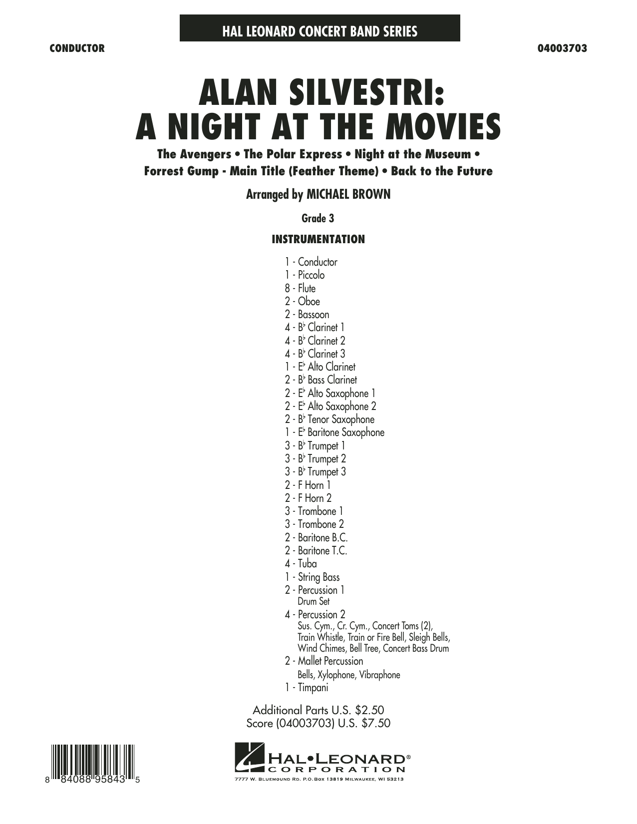 Alan Silvestri: A Night at the Movies (COMPLETE) sheet music for concert band by Michael Brown and Alan Silvestri. Score Image Preview.