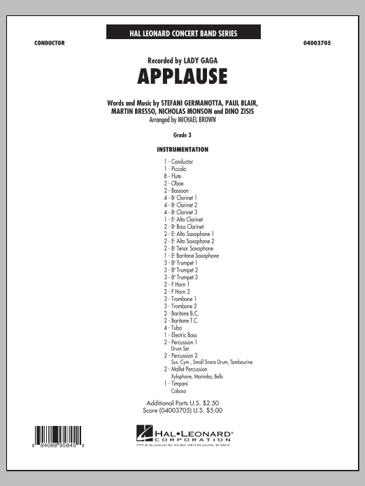 Applause (COMPLETE) sheet music for concert band by Michael Brown and Lady Gaga. Score Image Preview.