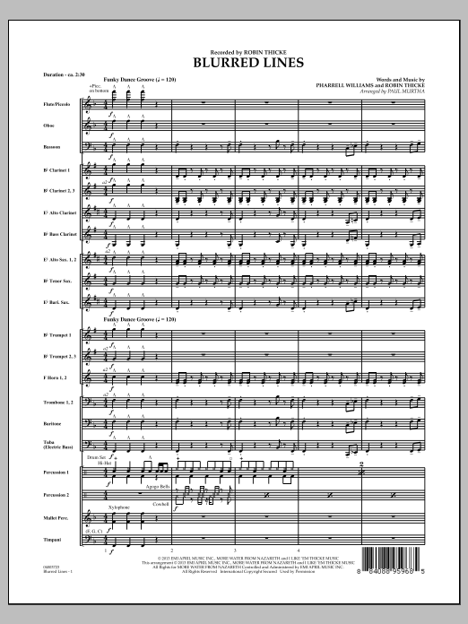 Blurred Lines (COMPLETE) sheet music for concert band by Paul Murtha and Robin Thicke. Score Image Preview.
