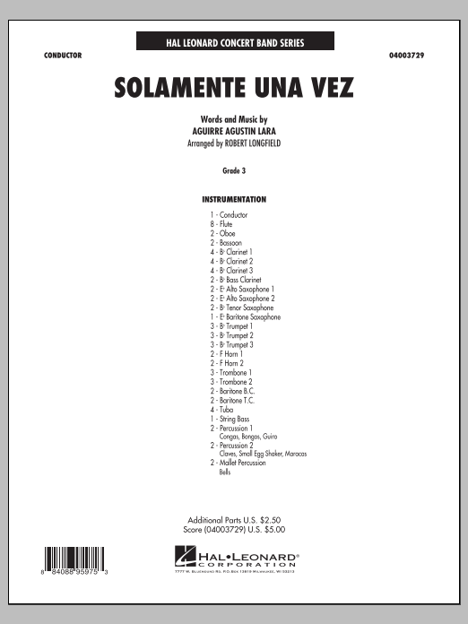 Solamente Una Vez (COMPLETE) sheet music for concert band by Robert Longfield. Score Image Preview.