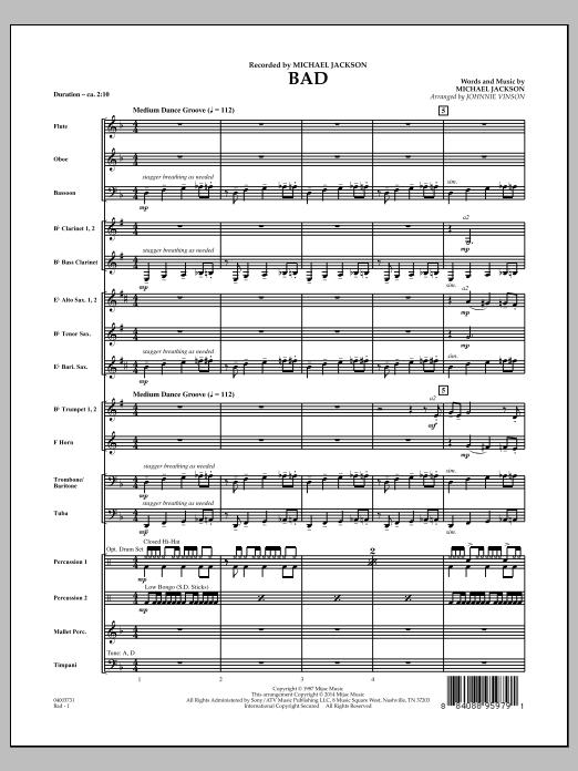 Bad - Conductor Score (Full Score) (Concert Band)