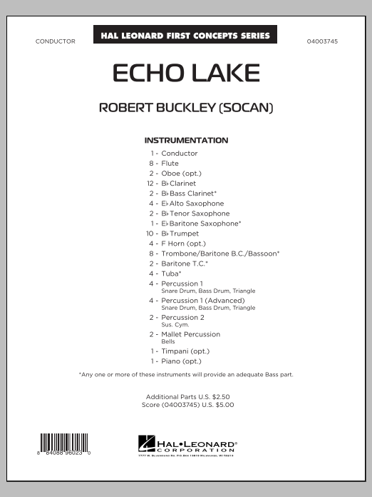 Echo Lake (COMPLETE) sheet music for concert band by Robert Buckley. Score Image Preview.